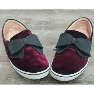 Kate Spade Burgundy Velvet Nappa Black Bow Flats
